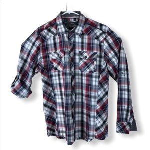 BKE Buckle Athletic Fit Plaid Button Up Shirt